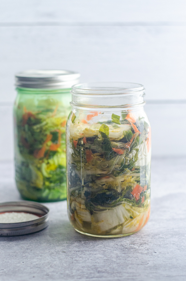 If you're not a fan of super-spicy kimchi, this white kimchi is perfect for you! Low-carb, Paleo, vegan.