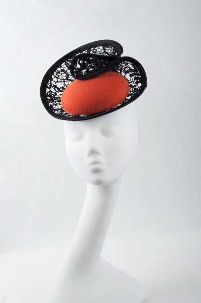 orange pillbox fascinator with black lace trim - The Hat Box