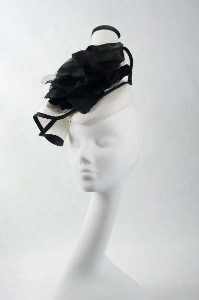 handmade pillbox cocktail hat in black and white - The Hat Box