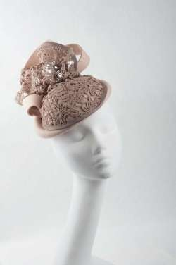 tan fascinator is handmade from luxurious felt and lace - The Hat Box