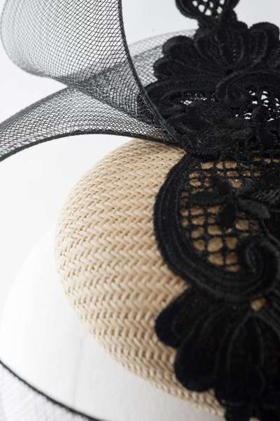 Nude pillbox with unusual black ornament & lace
