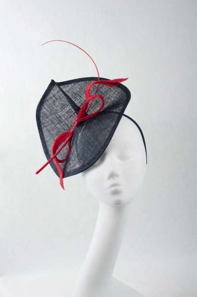 sinamay fascinator with contrast bow and long feather - The Hat Box