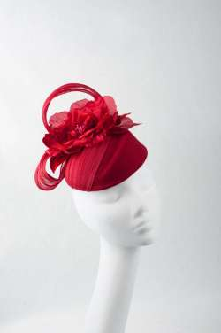 handmade red fascinator hat with edgy shape - The Hat Box