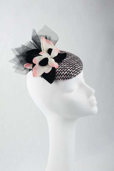 Black, white and soft pink pillbox - The Hat Box