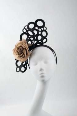 black fascinator with bronze flower - The Hat Box
