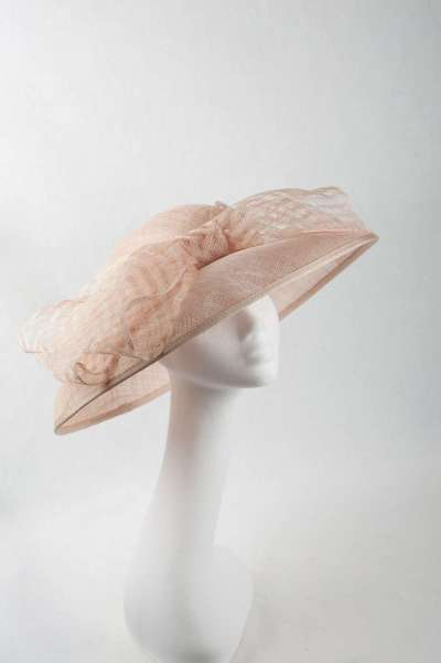 Large brim blush colour hat with frontal bow - The Hat Box