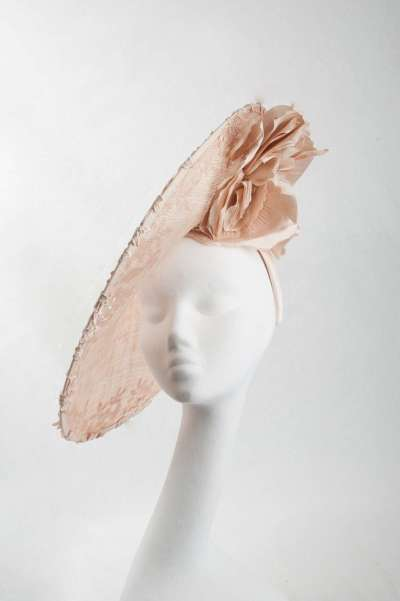 Large disc blush colour hat with large flower - The Hat Box