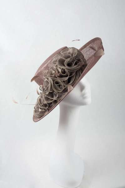Otter coloured hat with exquisite frill detail - The Hat Box