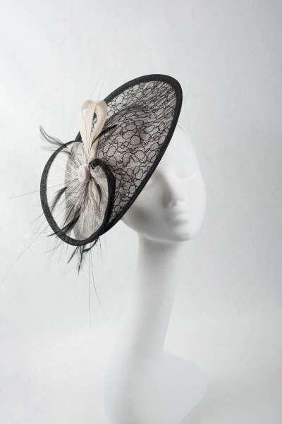 black and white medium fascinator hat - The Hat Box