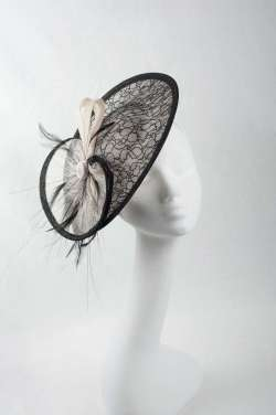 black and white medium fascinator hat - The Hat Box