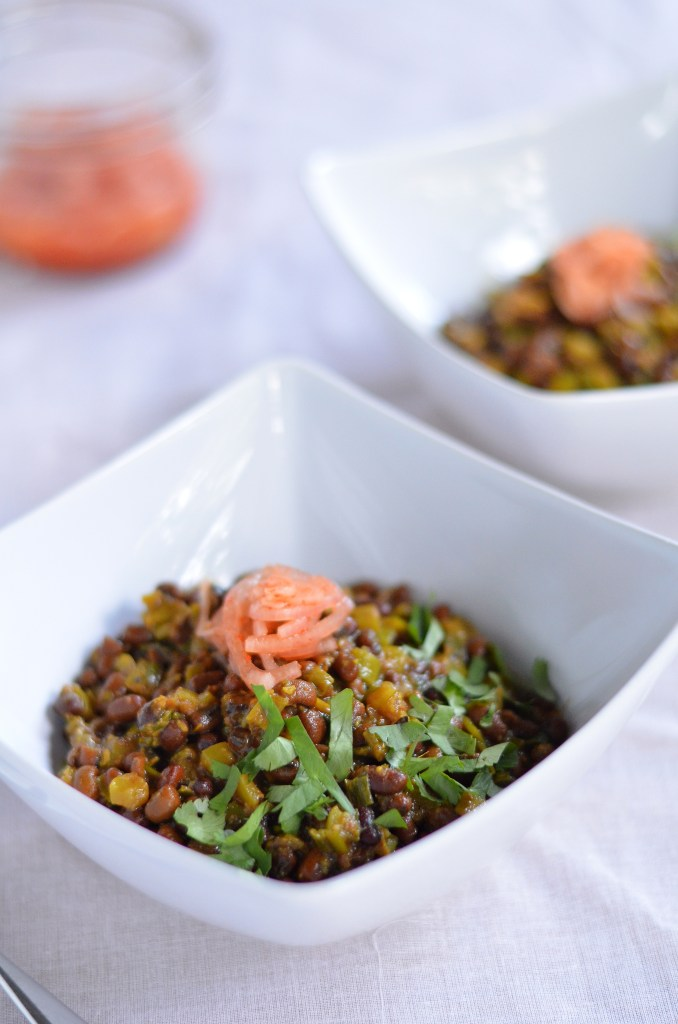 Adzuki Beans with Green Onion ~ Chora