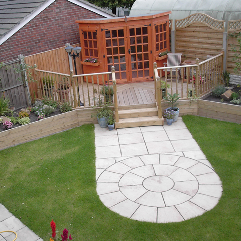 Beautifully landscaped garden with paved and decking features.