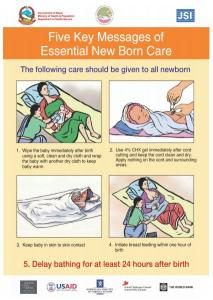 Five Key Messages Of Essential Newborn Care Poster Nepal