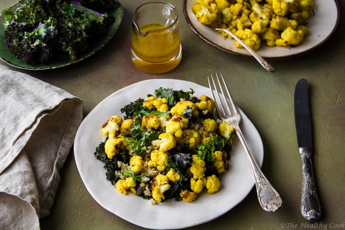 Κουνουπίδι με Κουρκουμά, Κέιλ και Κινόα - Turmeric Cauliflower, Kale & Quinoa Salad