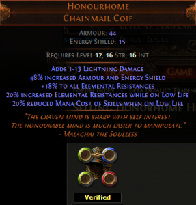 Honourhome Chainmail Coif Path of Exile