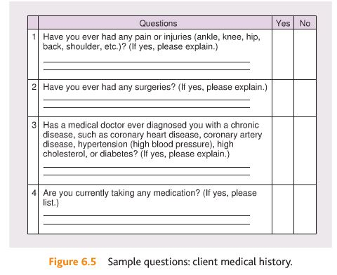 NASM Figure 6.5 medical history questions