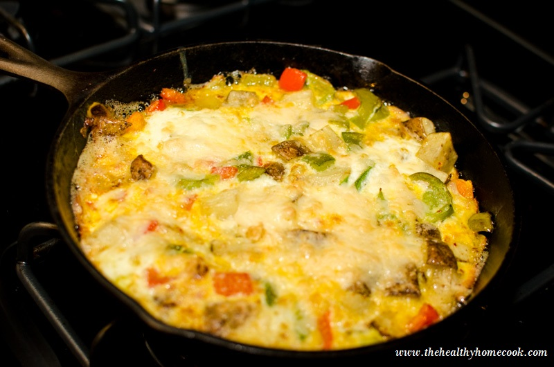 Potato and Pepper Fritatta- This yummy frittata is golden, crispy and ready for you at breakfast, brunch or any time of day!