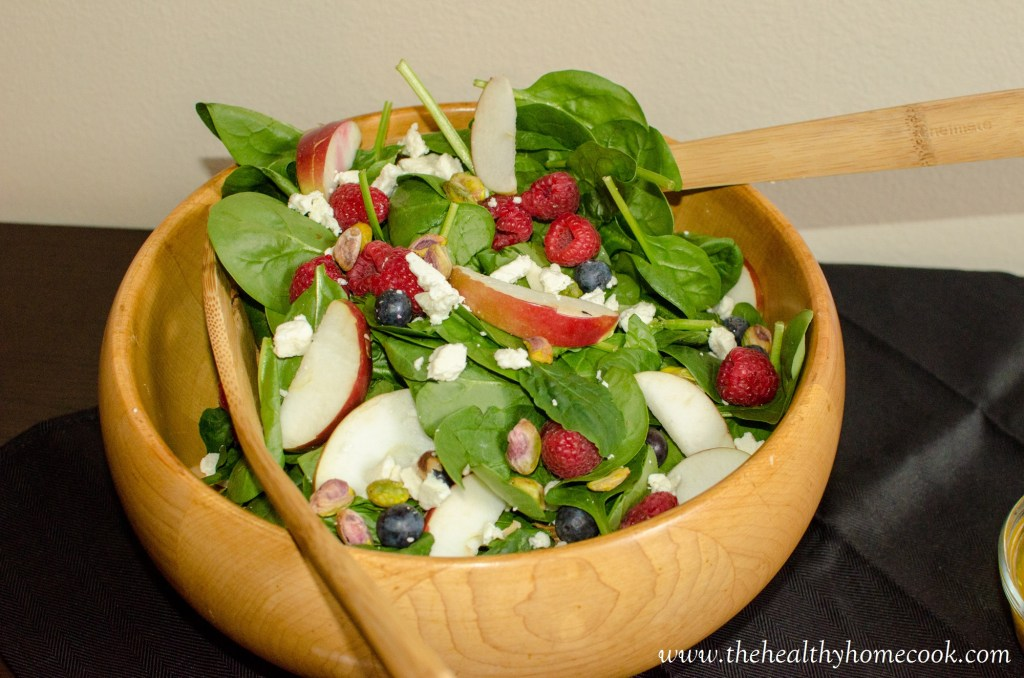 Apple Berry Spinach Salad- Full of so many wonderful flavors and the perfect nutritious meal without all of the unnecessary toppings or dressings.
