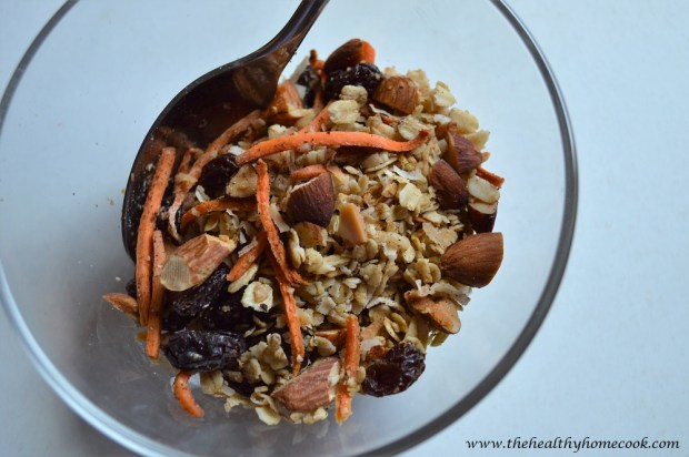 Carrot Cake Granola- Keep some on hand at all times. It's healthy eating made easy!