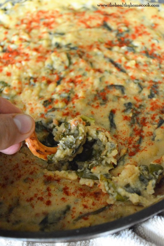 This Dairy Free Baked Spinach & Bean Dip is the perfect appetizer for entertaining. It's warm, creamy, spicy and great for any party.