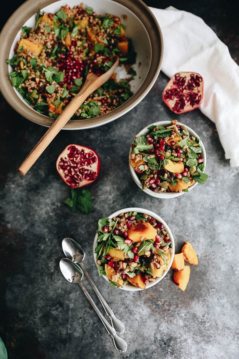 Get the most of autumn with this Farro harvest salad with toasted butternut squash and a pomegranate molasses dressing.  A seasonal favorite packed with nutrients and delicious flavors for a side or main course!  #salad #farro #grainsalad