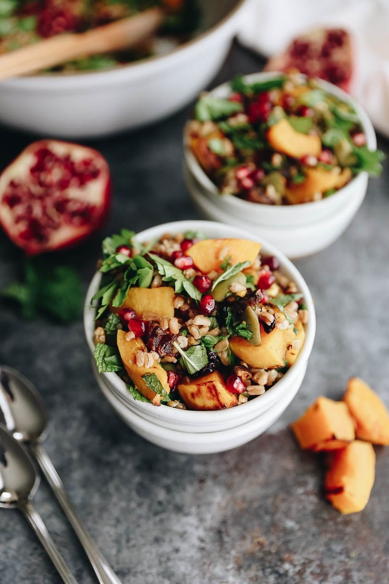 Get the most of autumn with this Farro harvest salad with toasted butternut squash and a pomegranate molasses dressing.  A seasonal favorite packed with nutrients and delicious flavors for a side or main course!
