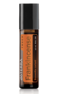 Frankincense essential oil in a glass brown bottle from DoTerra.