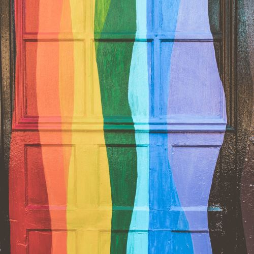 rainbow colored door