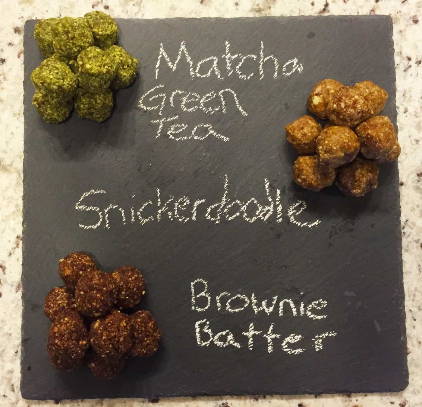 Date Bites 3 Ways: Brownie Batter, Snickerdoodle, and Matcha Green Tea