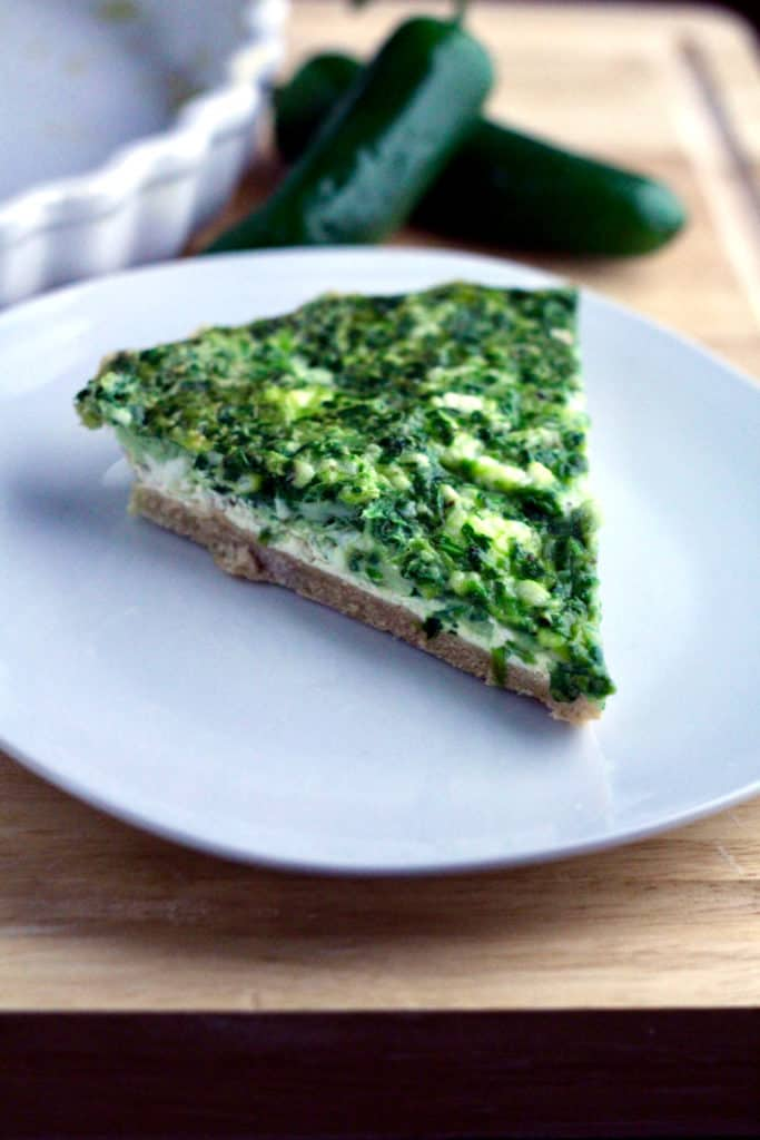Slice of whole wheat jalapeno popper quiche