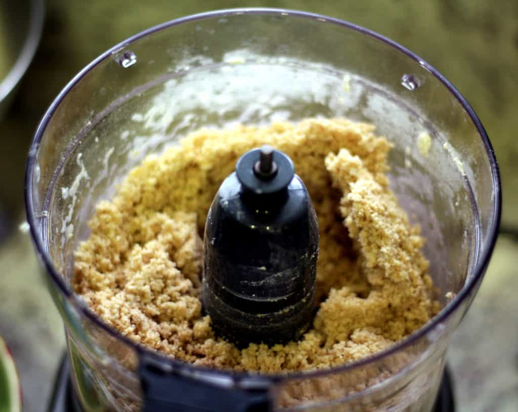 Pulsing whole wheat crust in food processor