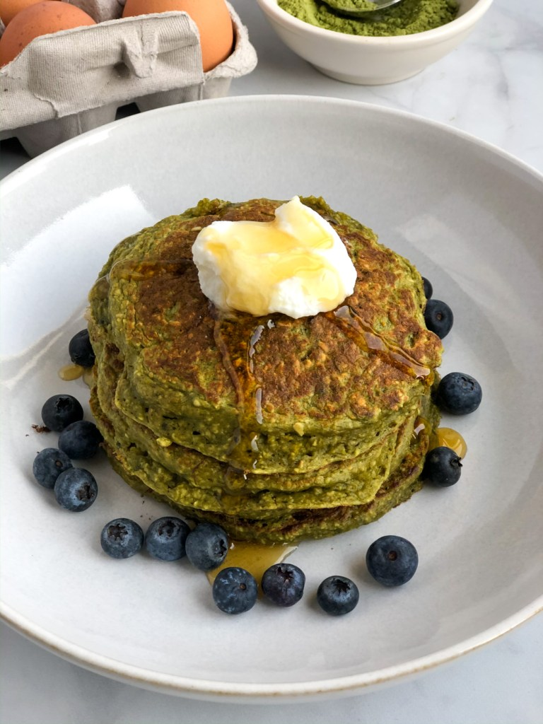 stack of healthy matcha pancakes
