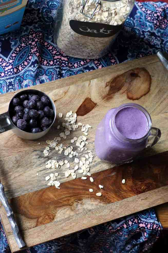 Making Blueberry Muffin Smoothie