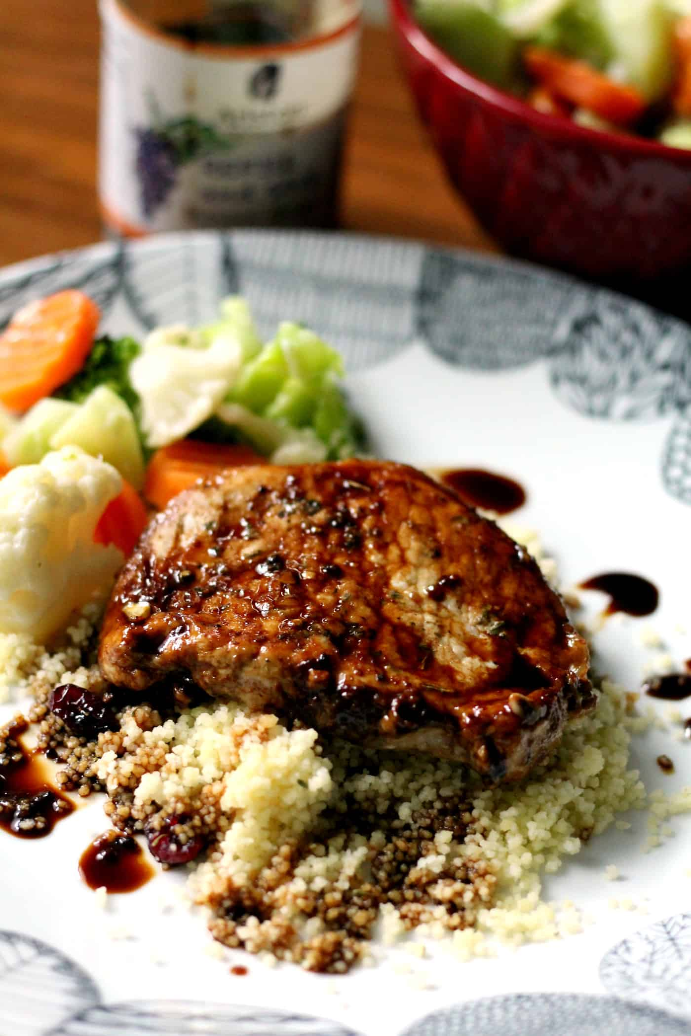 Balsamic Pork Loin Chops with Couscous