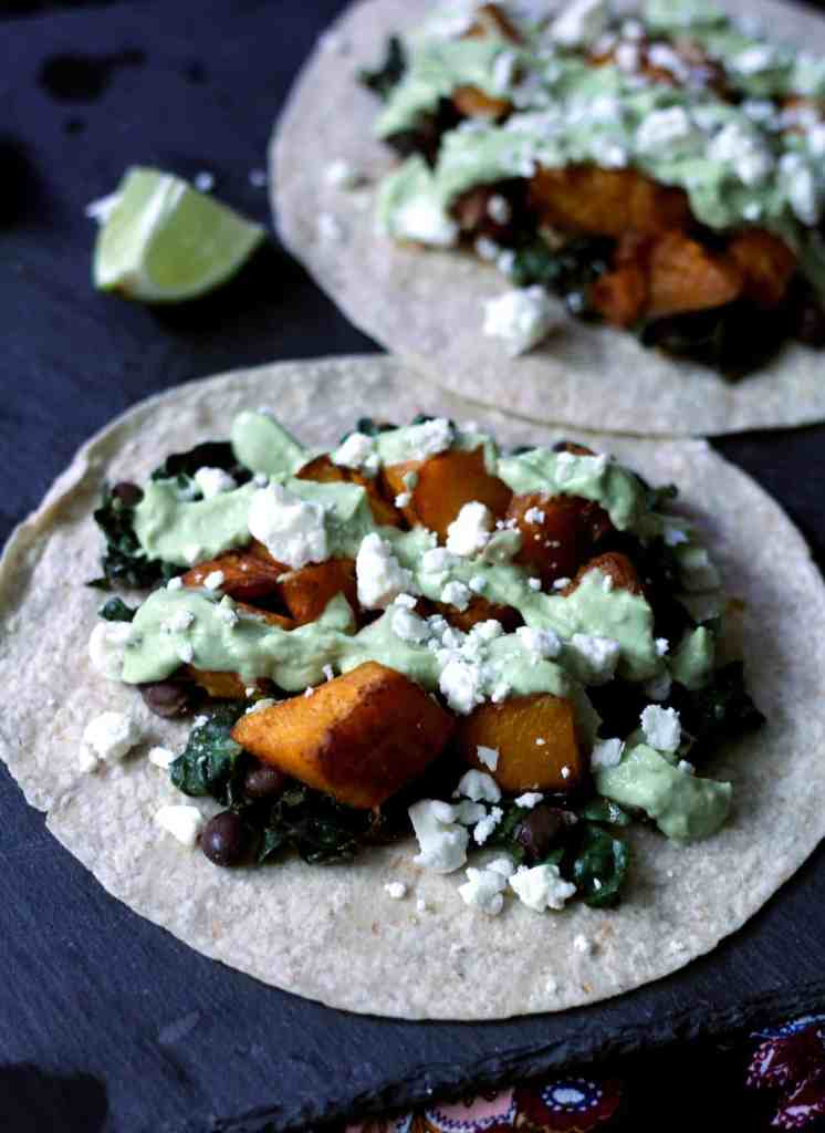 Roasted butternut squash tacos with avocado crema