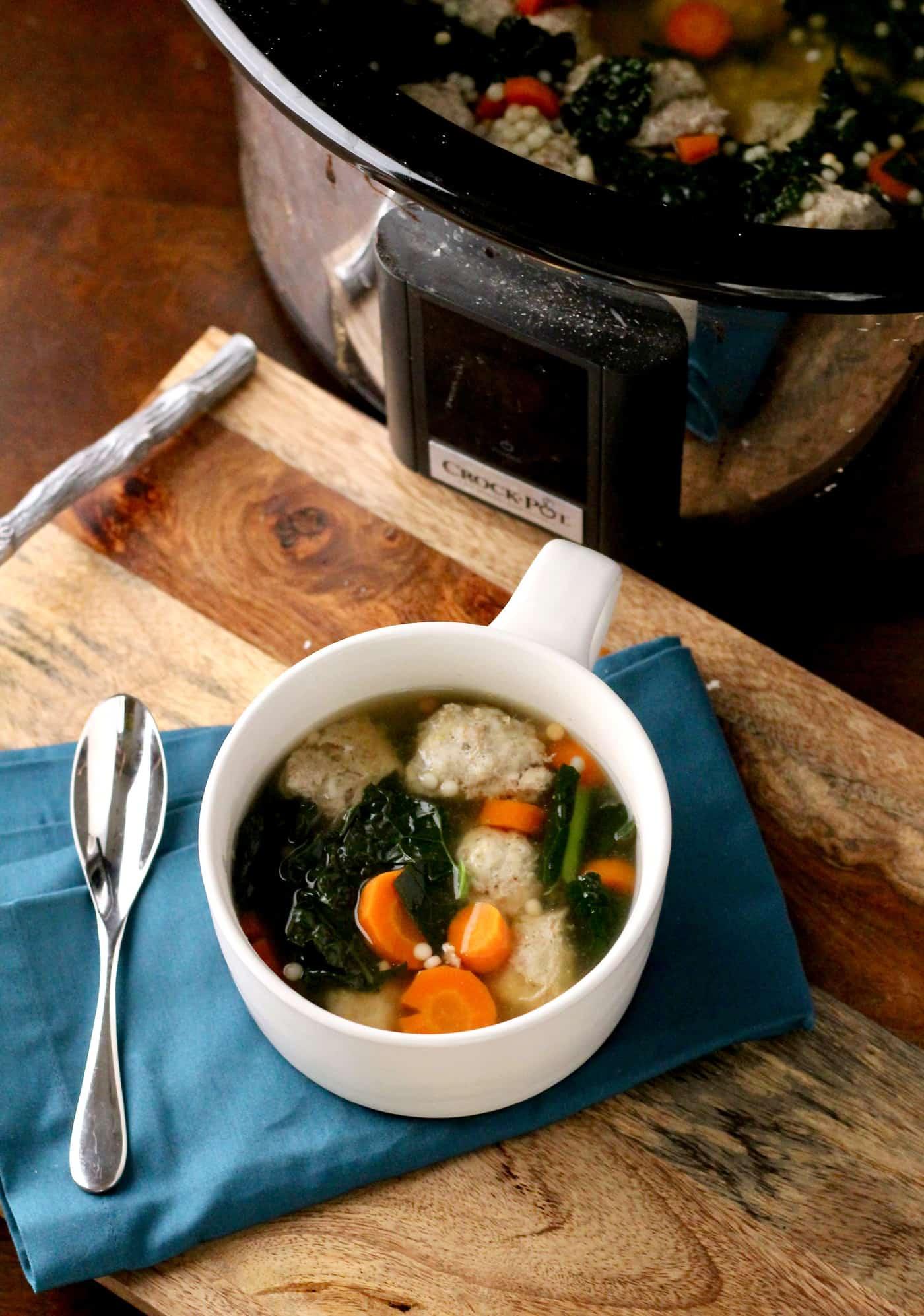 Healthier Italian Wedding Soup (Crockpot recipe)