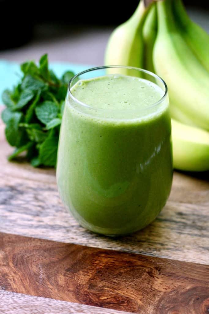 Glass of shamrock protein shake