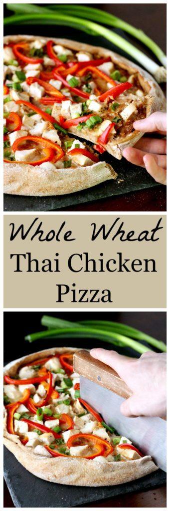 Whole wheat Thai chicken pizza Pinterest image