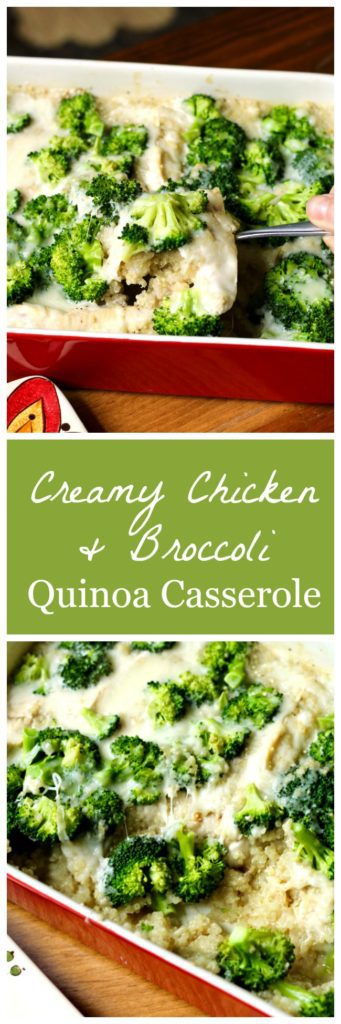 Creamy chicken and broccoli quinoa casserole Pinterest image