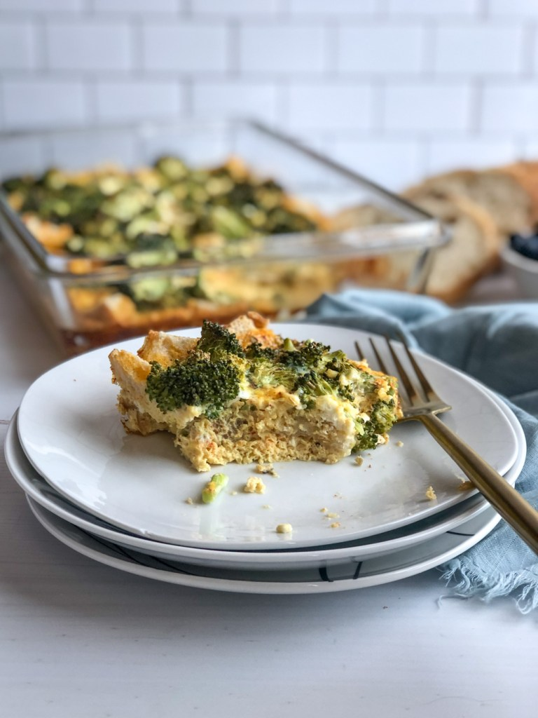 Plate with slice of healthy overnight breakfast casserole