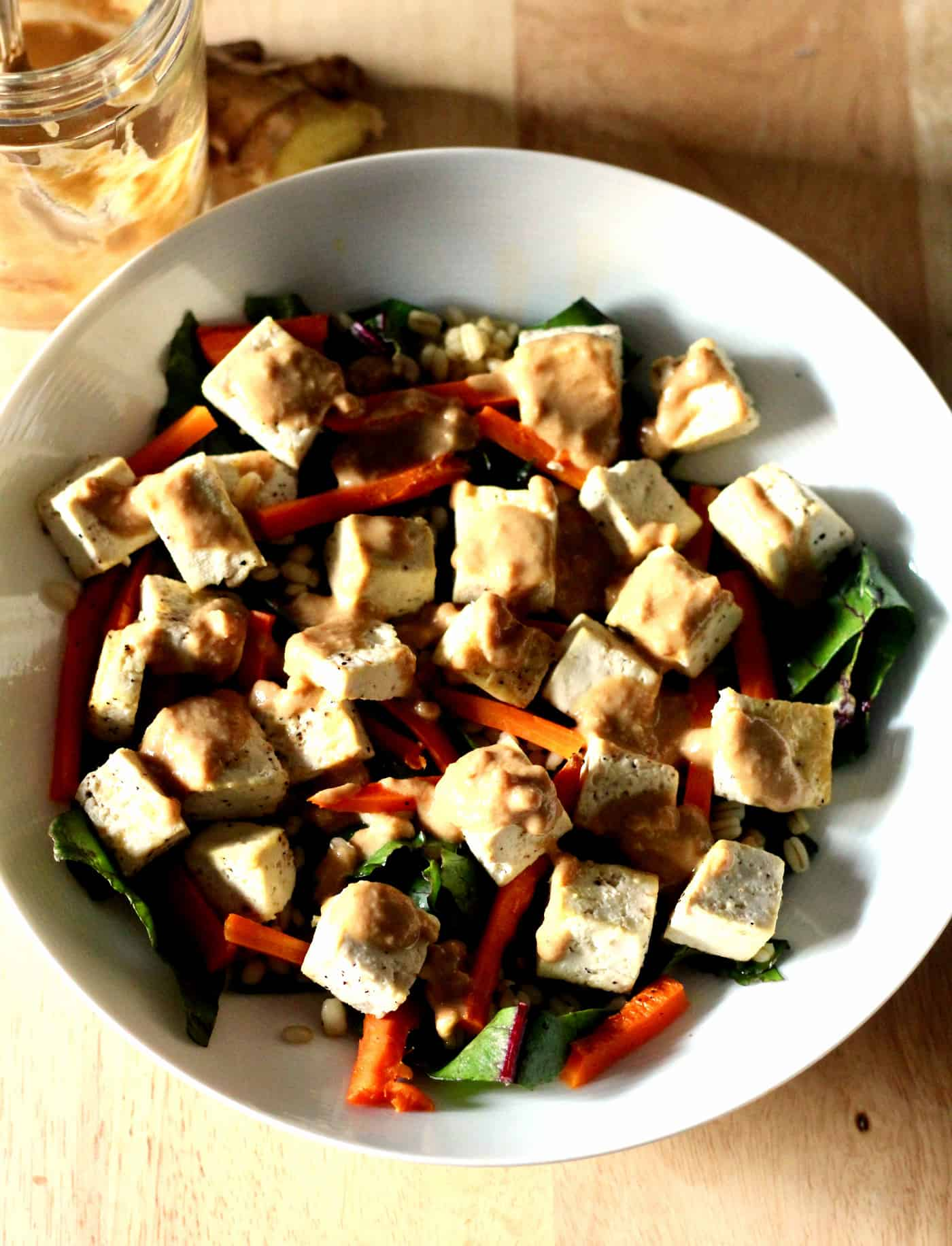 Roasted Tofu and Carrot Bowls with Ginger Peanut Sauce