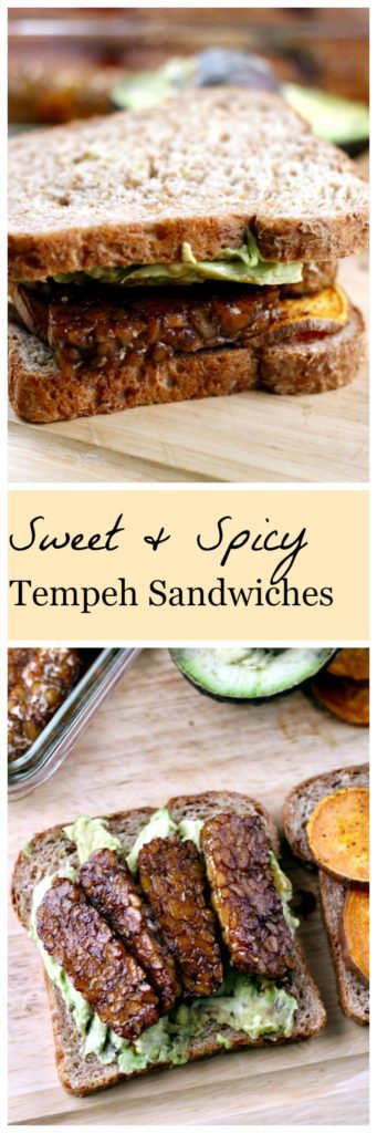 Sweet and spicy tempeh sandwiches Pinterest image