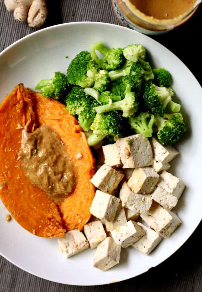 Sweet potato with almond butter, tofu and broccoli