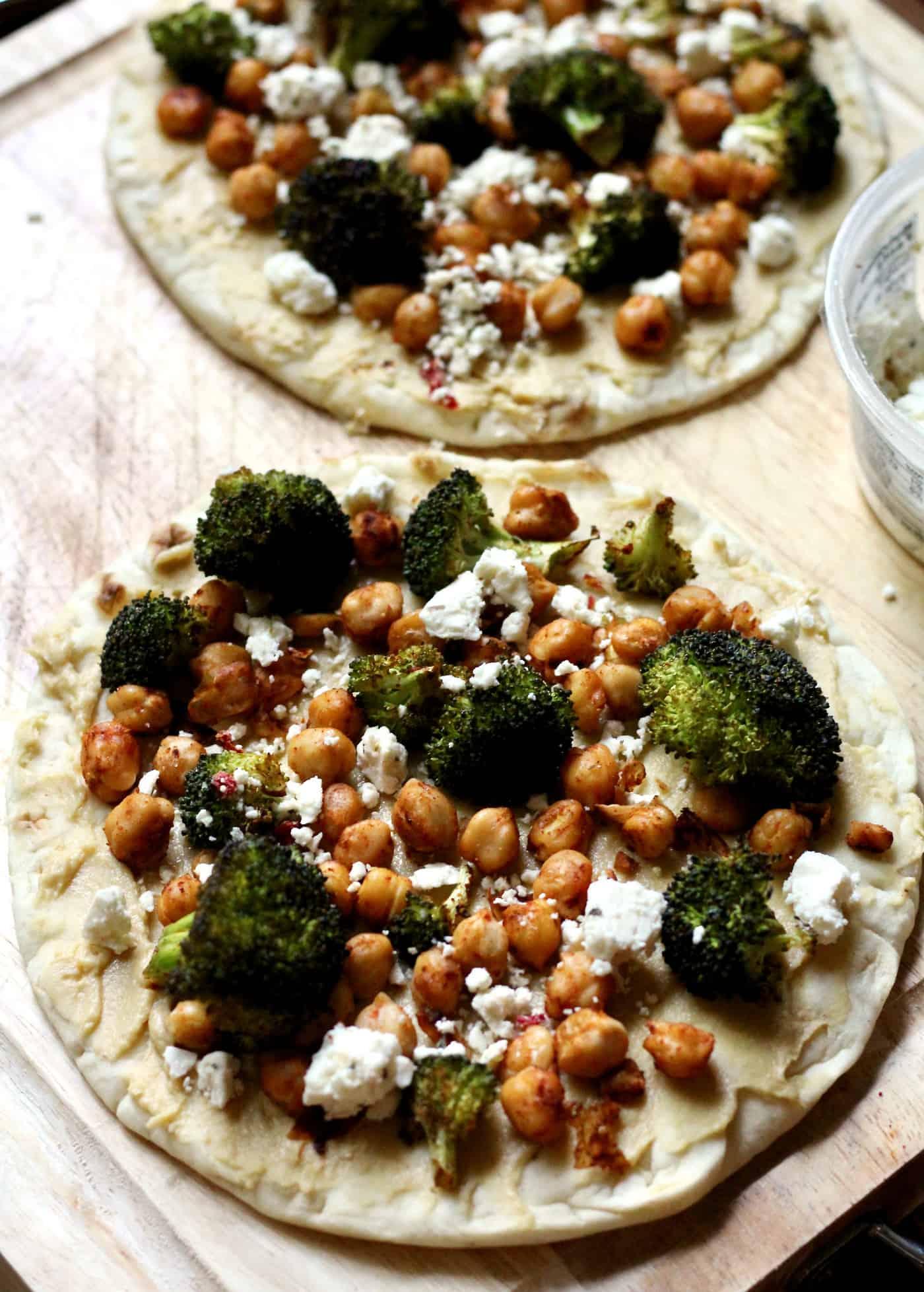 Roasted Chickpea and Broccoli Hummus Flatbread