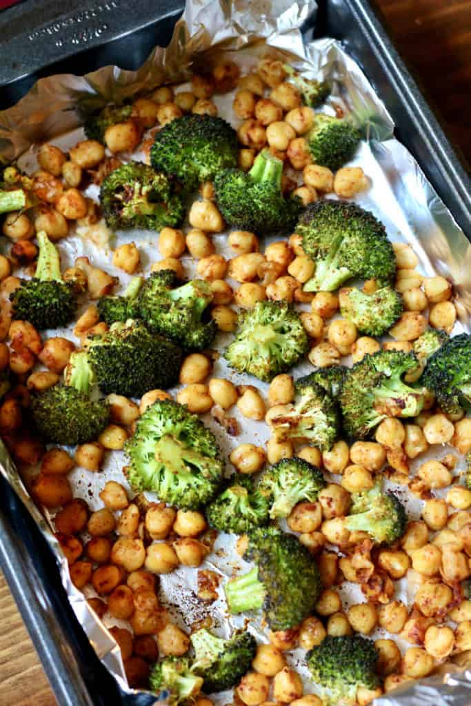 Sheet pan of roasted chickpeas and broccoli