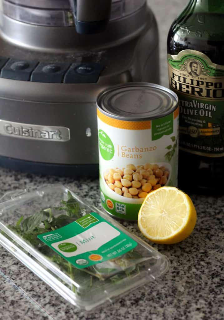 Chickpeas, lemon, olive oil, and mint