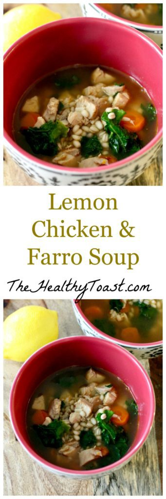 Lemon chicken and farro soup pinterest image