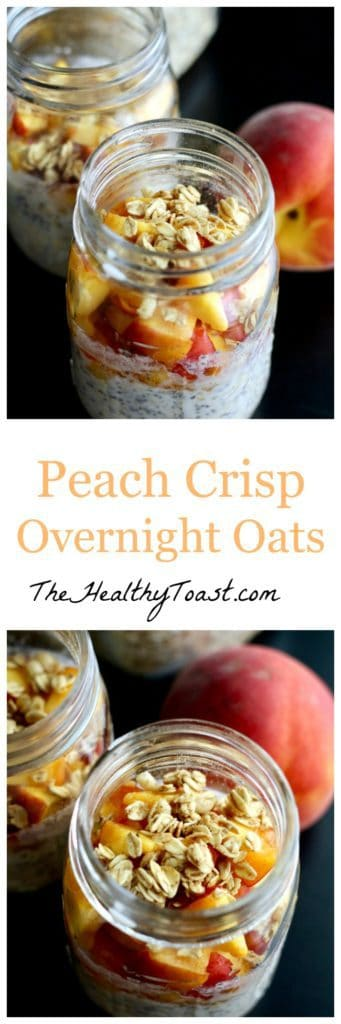 Peach crisp overnight oats Pinterest image