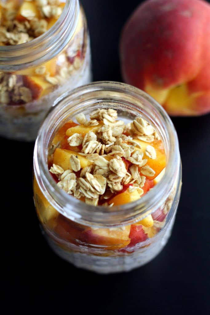 Healthy peach crisp overnight oats in mason jar