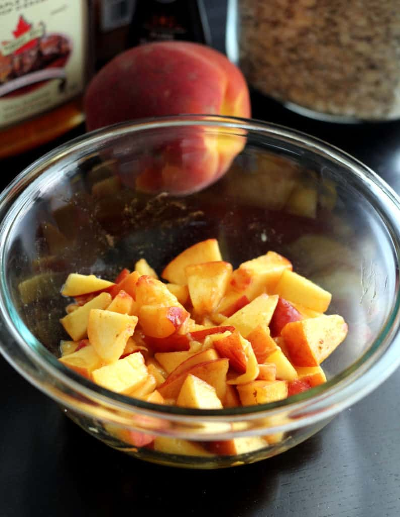 Bowl of diced peaches